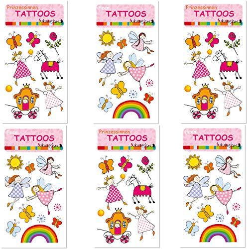 Neu: 6-teiliges Tattoo-Set * Prinzessin & Feen * vom Lutz Mauder-Verlag im SUKU-Design   mit Regenbogen, Schmetterlinge, Blumen, Pony   Kinder Kindertattoo Kindergeburtstag Geburtstag Mitgebsel