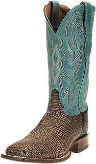 Justin Boots Company Mens AQHA Wheatshef Goat 13 Caribbean Cowhide Top Square Toe 11.5 D Brown