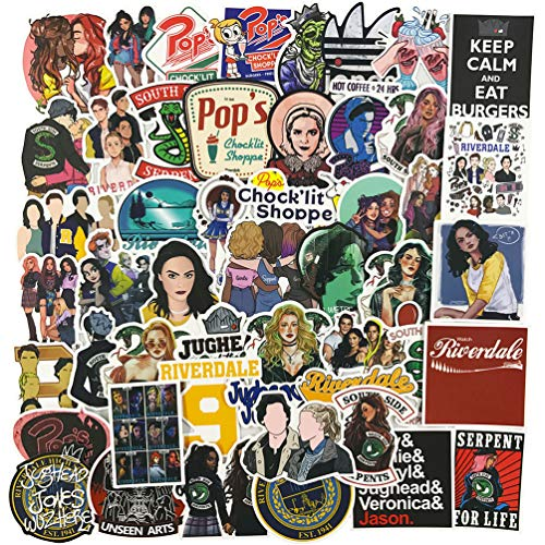 Movie Laptop Stickers 50Pcs Pack, Teen&Adult Vinyl Water Bottle Travel Case Computer Wall Skateboard Motorcycle Phone Bicycle Luggage Guitar Bike Stickers Decal (Riverdale)