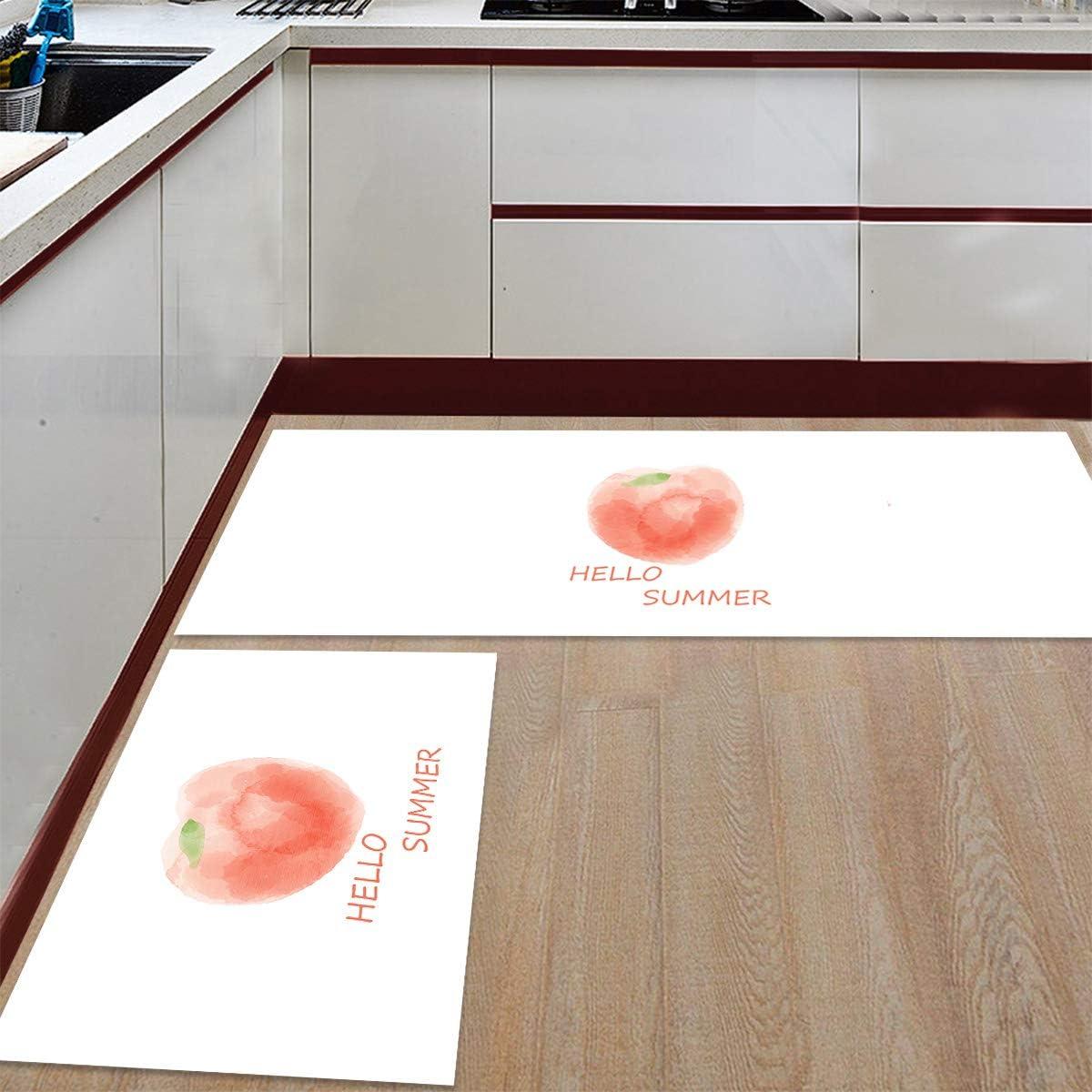 Kitchen SALE Rug Set 2 Pieces Non Mat Summer Floor 予約販売品 Slip Hello