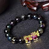 Gymqian Feng Shui Iris Color Cambio Pixiu Pi Yao Pulsera Prosperidad 12 Mm Pixiu Llevar Monedas Curación Talisman Piedra Amuleto Cristal Pulsera Atrae Dinero Buena Suerte Moda