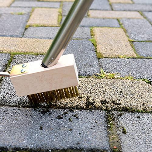 Brosse en métal pour enlever les PLANTES des fissures sur le pont, devant le garage, terrasse, moisissure, mauvaises herbes, jardin, coulis de carreaux de céramique