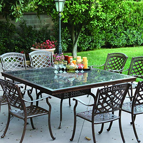 Darlee Sedona 9 Piece Cast Aluminum Patio Dining Set with Square Granite Top Table - Mocha/Brown Granite Tile