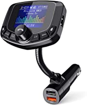 """TECKNET Transmisor FM Bluetooth 1.8"""" Pantalla Color Llamadas Manos Libres Transmisores FM Rádio de Vehículos con Cargador Rápido QC3.0 / 5V 2.4A, para Móviles iOS, Andriod, iPad, Tablets y Tarjeta SD"""