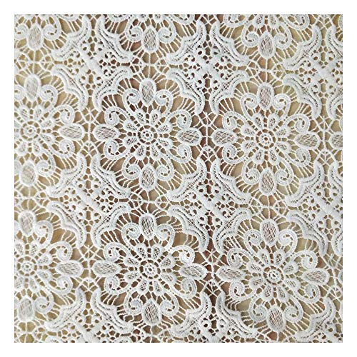 JIWEIER Milk silk full width water-soluble lace dress decoration women's accessories lace fabric embroidery DIY fabric DIY Sewing Supplies (Color : White)