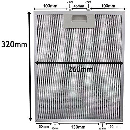SPARES2GO Metalen gaasfilter voor ATAG afzuigkap/afzuigkap Ventilator (zilver, 320 x 260 mm)