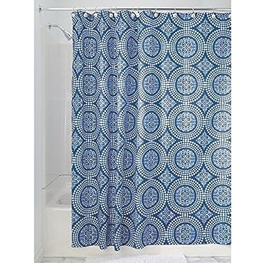 InterDesign Medallion Fabric Shower Curtain, 72 x 72, White/Ink Blue
