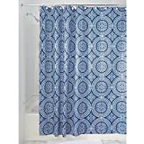iDesign Medallion Textil Duschvorhang | 183 cm x 183 cm Duschabtrennung für Badewanne & Duschwanne | Vorhang aus Stoff mit verstärkter Oberkante | Polyester blau