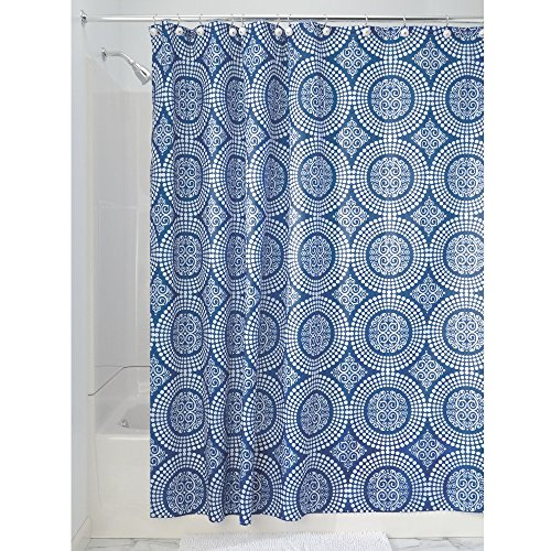 iDesign Medallion Fabric Shower Curtain, Water-Repellent Bath Liner for Kids', Guest, College Dorm, Master Bathroom, 72' x 72', Blue and White