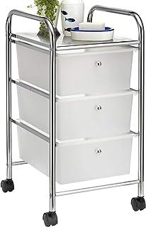 IDIMEX Caisson sur roulettes GINA Chariot avec 3 tiroirs en Plastique Blanc Transparent et 1 étagère, Meuble de Rangement ...