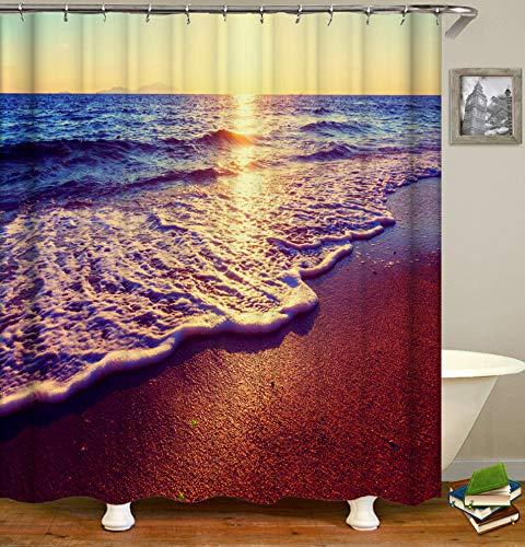 JgZATOA Ocean Beach douchegordijn waterdicht badkamer retro gordijn badkuip gordijn schimmel resistent polyester wasbaar douchegordijn 180X200cm