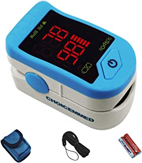 ChoiceMMed Light Blue Finger Pulse Oximeter - Blood Oxygen Saturation Monitor - SPO2 Pulse Oximeter - Portable Oxygen Sensor with Included Batteries - O2 Saturation Monitor with Carry Pouch