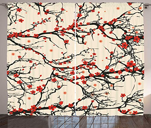 "Ambesonne Japanese Curtains, Nature Cherry Blossom Sakura Branch Flowers Art Print, Living Room Bedroom Window Drapes 2 Panel Set, 108"" X 108"", Brown Vermilion"