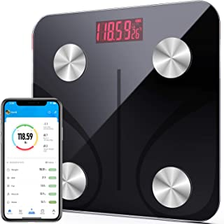 Bluetooth Body Fat Scale Vinselected Smart BMI Scale Digital Bathroom Weight Scale Wireless Body Composition Analyzer with Smartphone App 396 lbs/180kg - Black