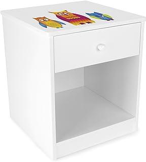 Leomark Chevet avec un Tiroir Blanc Table de Nuit casier avec 1 tiroir et 1 Niche Petite Commode de Nuit pour Enfant Haute...