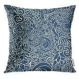 Dekokissen Abdeckung Bunte geometrische Bicolor dunkelblau und hellgelb in Doodle Stil Elegante...