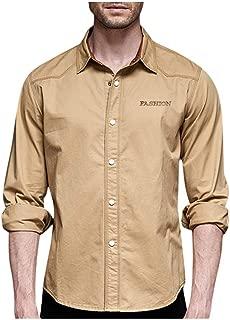 Alalaso Men's Cotton Long Sleeve Button Down Shirts Cargo Work Shirt