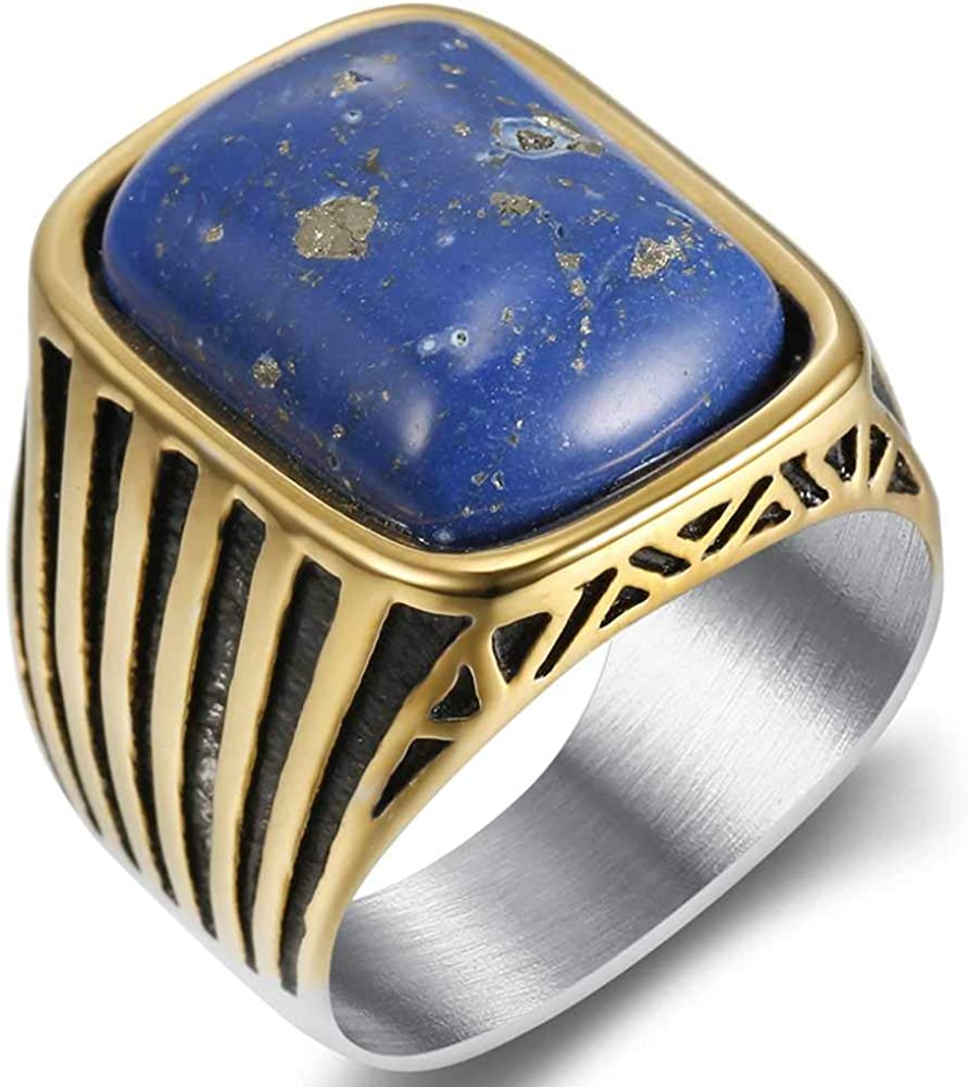 Jude Jewelers Stainless Steel Simulated Blue Lapis Stone Wedding Engagement Cocktail Party Signet Style Biker Ring