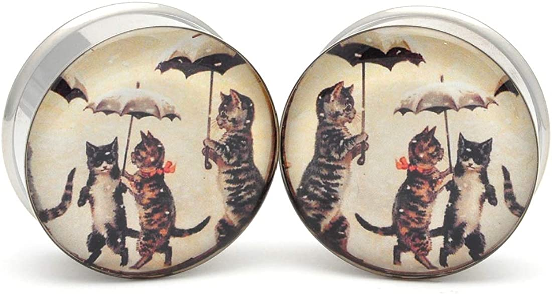Mystic Metals Body Jewelry Large Gauge Cats with Umbrellas Picture Plugs - Sold As a Pair
