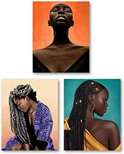 African American Women Art Painting,Black Lady Fashion Pop Gold Earrings Wall Art Poster,Ethnic Tribe Theme Poster,Pretty Girl Room Poster Art Painting for Home Decor,Set of 3(8