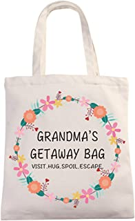 Funny Grandma Cotton Canvas 12 Oz Reusable Tote Bag | Grandma's Getaway Bag | Funny Grandma Mother's Day/Baby Shower/Chris...
