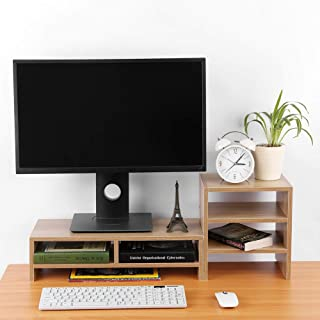 Computer Monitor Stand, 3-Layer Shelf Laptop Monitor Riser Stand Desktop Wooden Storage Organizer for Home Office(Light Wa...