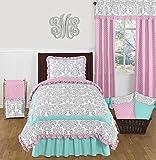 Sweet Jojo Designs Skylar Luxury Turquoise Blue, Pink Polka Dot and Gray Damask 4 Piece Girls Twin Bedding Set