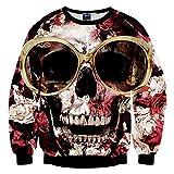 Chiclook Cool Chic Women Harajuku Glasses Roses Skull 3D Print Hip Hop Pullovers Sweatshirt