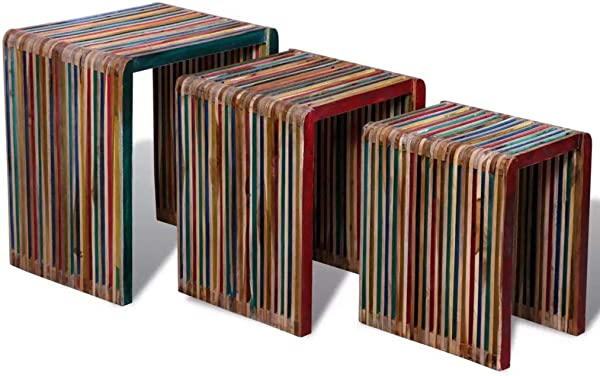 Mewmewcat 3 Pcs Vintage Nesting Coffee Table Set End Side Tables Stackable For Home And Office Colorful Reclaimed Teak