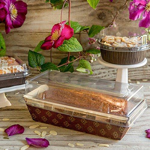 Rectangular Paper Loaf Pan Molds Medium Size with Lids - 7''x3''x2'' - 12pcs