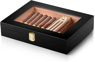 Cigar Humidor High Gloss Handmade Wood Cigar Box Desktop Humidor with Hygrometer and Humidifier,Cedar Divider Royale Glasstop Holds 10-15 Cigars