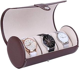 Lwieui Cajas de Reloj Caja de Almacenamiento de Cuero marrón de 3 Cilindros Caja de Reloj Reloj Caja de Almacenamiento por...