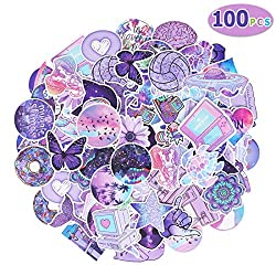 Max Fun Waterproof Stickers Packs for Kids Party Favors Water Bottle Laptop Envelopes Gifts Tags Crafts Windows Phone Luggage Snowboard (Pack of 100) (Purple)