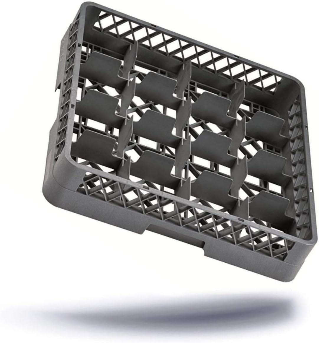 Escurridor de platos con cesta de 16 compartimentos para vasos & brocche se puede lavar en lavavajillas de canasta de Universal de polipropileno 500 x 100 mm colour azul y gris