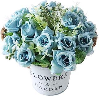 Gumolutin Artificial Flowers Pot, Fake Bonsai Plants in Metal Potted for Home Wedding Office Restaurant Table Centerpieces Arrangement Decoration,Rose-Blue