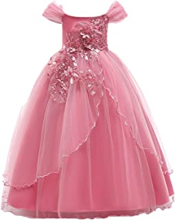 Champagne Color Kids Dresses Princess Wedding Gown Summer Girl Dress Long Tulle Teen Party Children Clothing
