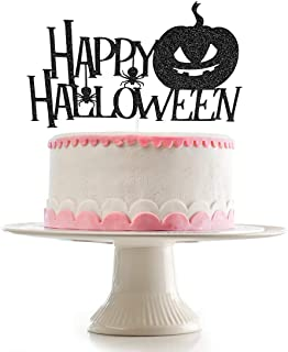 Black Glittery Happy Halloween Cake Topper for Halloween Party Decoration Supplies