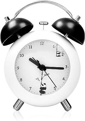 目覚まし時計 大音量 卓上ベル 置き時計 4インチ アナログ 連続秒針 ナイトライト付 ツインベ パンダ クロック
