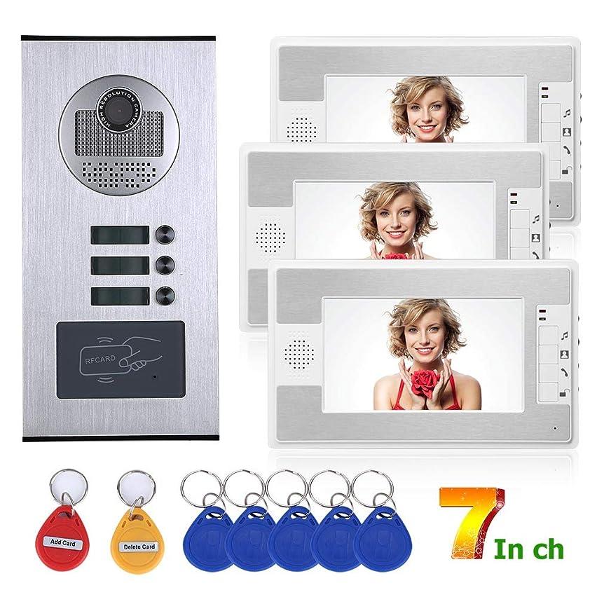 7inch Wired Video Door Phone, Apartments Intercom System Waterproof RFID IR-CUT HD 1000TVL Camera Doorbell with 3 Indoor Monitor,White