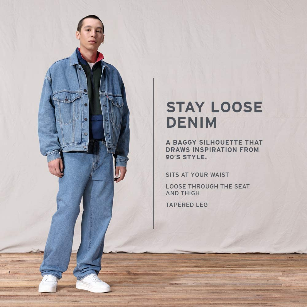 90s Outfits for Guys | Trendy, Party, Cool, Casaul Levis Mens Stay Loose Denim Jeans  AT vintagedancer.com
