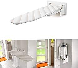 uyoyous Tabla de planchar, montaje en pared, plegable, estante giratorio, tabla de planchar con herrajes, altura regulable para el hogar – Blanco