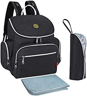 Qimiaobaby Multi-Function Baby Diaper Bag Backpack with Changing Pad and Portable Insulated Pocket (Black)