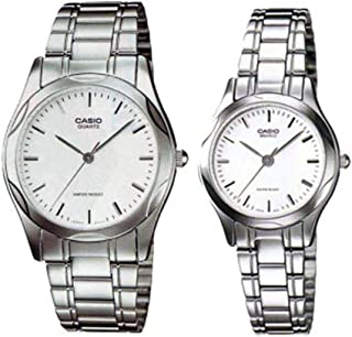 Casio His & Hers White Dial Stainless Steel Band Couple Watch - MTP/LTP-1275D-7A