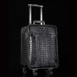 L.W.SUSL High Grade Luxury Genuine Leather Trolley 18 Inch Cabin Suitcase Wheels 100% Alligator Rolling Luggage (Color : B...