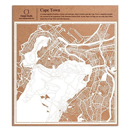 Kapstadt Scherenschnitt Karte, Weiß 30x30 cm Papierkunst