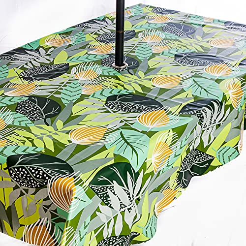 PVC Wipe Clean Garden Outdoor Tablecloth with Rust Proof Stainless Steel Umbrella Parasol Hole Tropical Leaf Design 200cm x 140cm