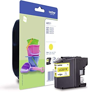 Brother LC-221Y inktcartridge, geel, enkel pakket, standaardcapaciteit inclusief 1 x inktcartridge, Brother originele beno...
