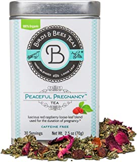 Birds & Bees Teas - Peaceful Pregnancy Tea, Red Raspberry Leaf Tea That is a Nourishing and Safe Prenatal Tea for Your First Trimester Through Third Trimester - 30 Servings, 2.5 oz
