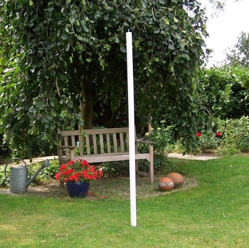 Sienagarden 122 Vogelhaus-Holzstange/Stabiler Holzständer aus massivem Holz, Weiß lasiert,  H x Ø: 180 x 5 cm