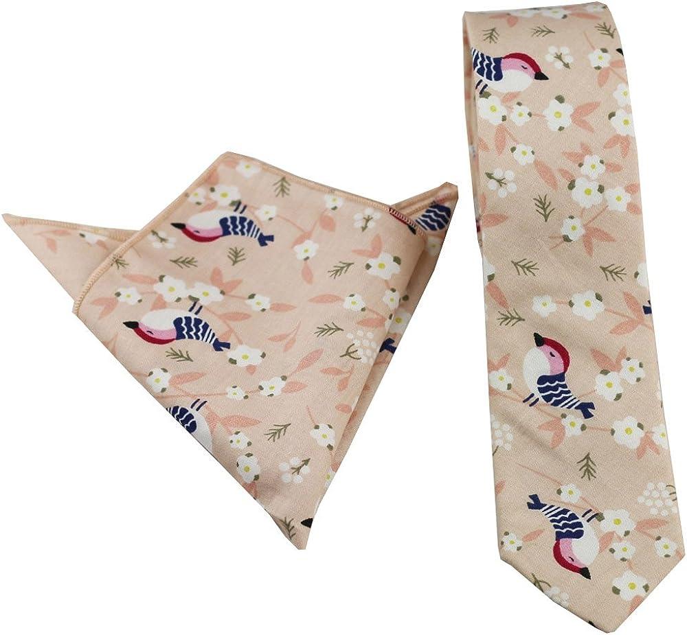 Coachella Ties Khaiki Cuckoo Pattern Cotton Necktie Skinny Tie Pocket Square Bowtie (Tie+Pocket Square)